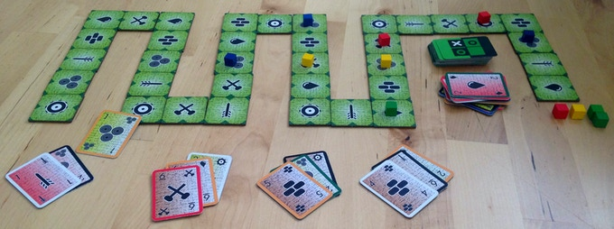 Tunnel Run is a race where each player has multiple pieces to move to the finish. Reduce the number of pieces and cards with younger players, and add advanced rules with older.