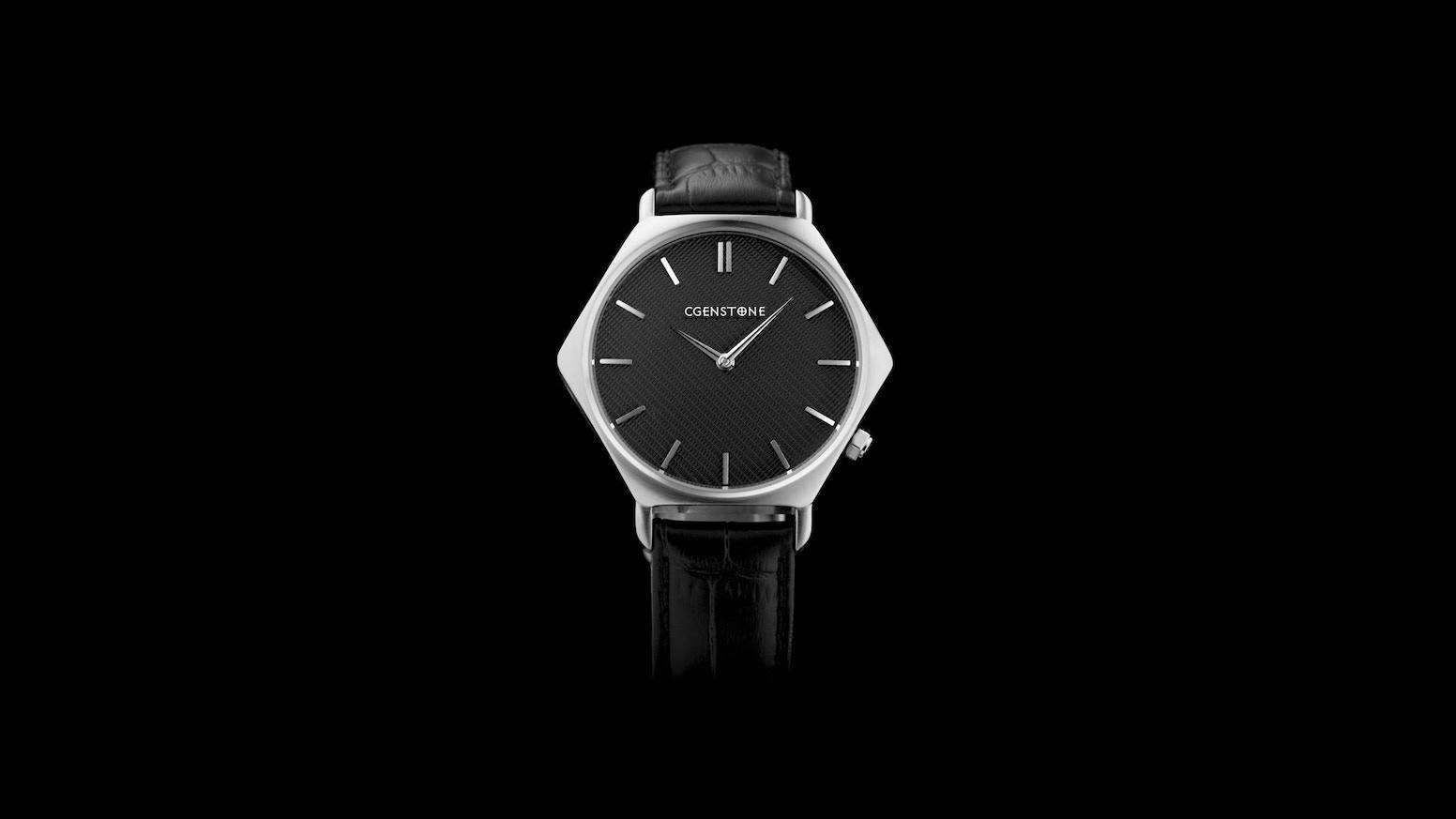 Modern geometric design and traditional handmade craftsmanship. Unique watch By Cgenstone.com