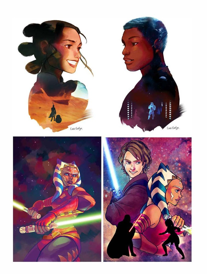 Choose your Destiny: Pick 2 of 4 designs by Cass Evelyn: Rey, Finn, Ahsoka, and Ahsoka & Anakin. Size options: A4 (8.3 x 11.7 in) or A5 (5.8 x 8.3 in). Includes Force-Wielder perks.