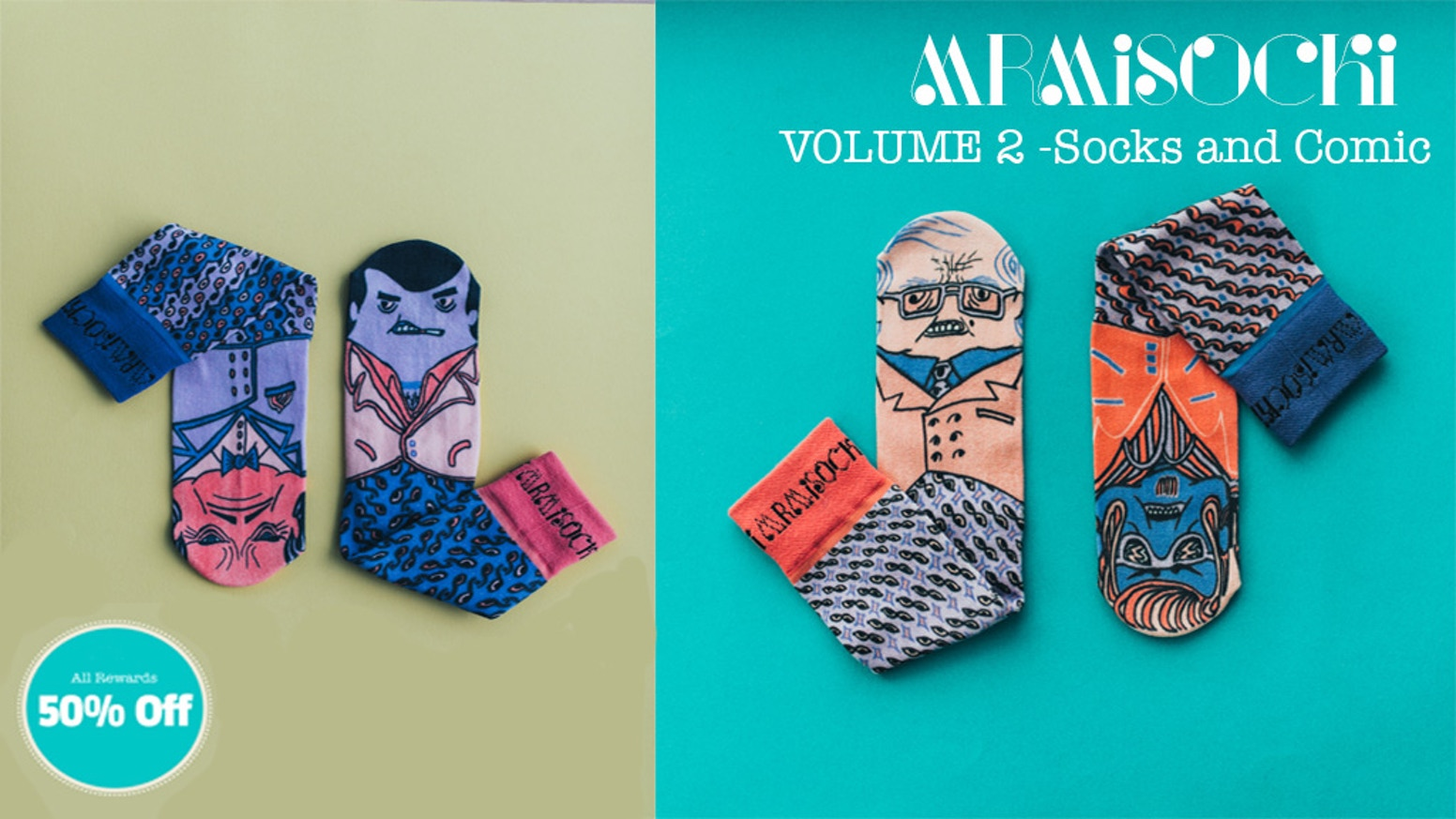 Mismatched socks based on characters from a comic book story that's also included. Volume 2 is about the Sockoni Family, the sock mafia