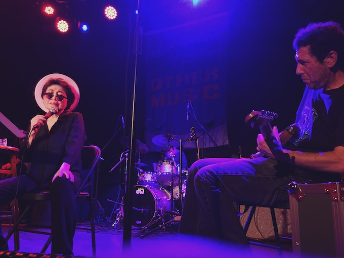 Yoko Ono performing with Yo La Tengo at Other Music's farewell concert in June 2016