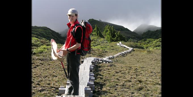 Kari collecting samples in Hawaii.