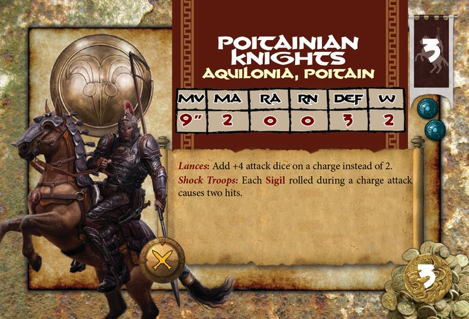 Here's a closer look at one of the unit cards. This one is for the hard-charging Poitainian Knights!