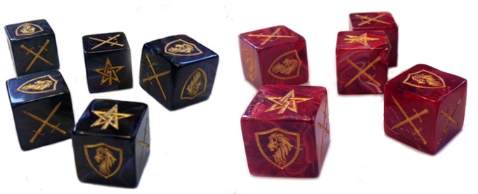 Custom Sigil dice in blood red for the Circle or Iron and eldritch blue for the Legion of Set.