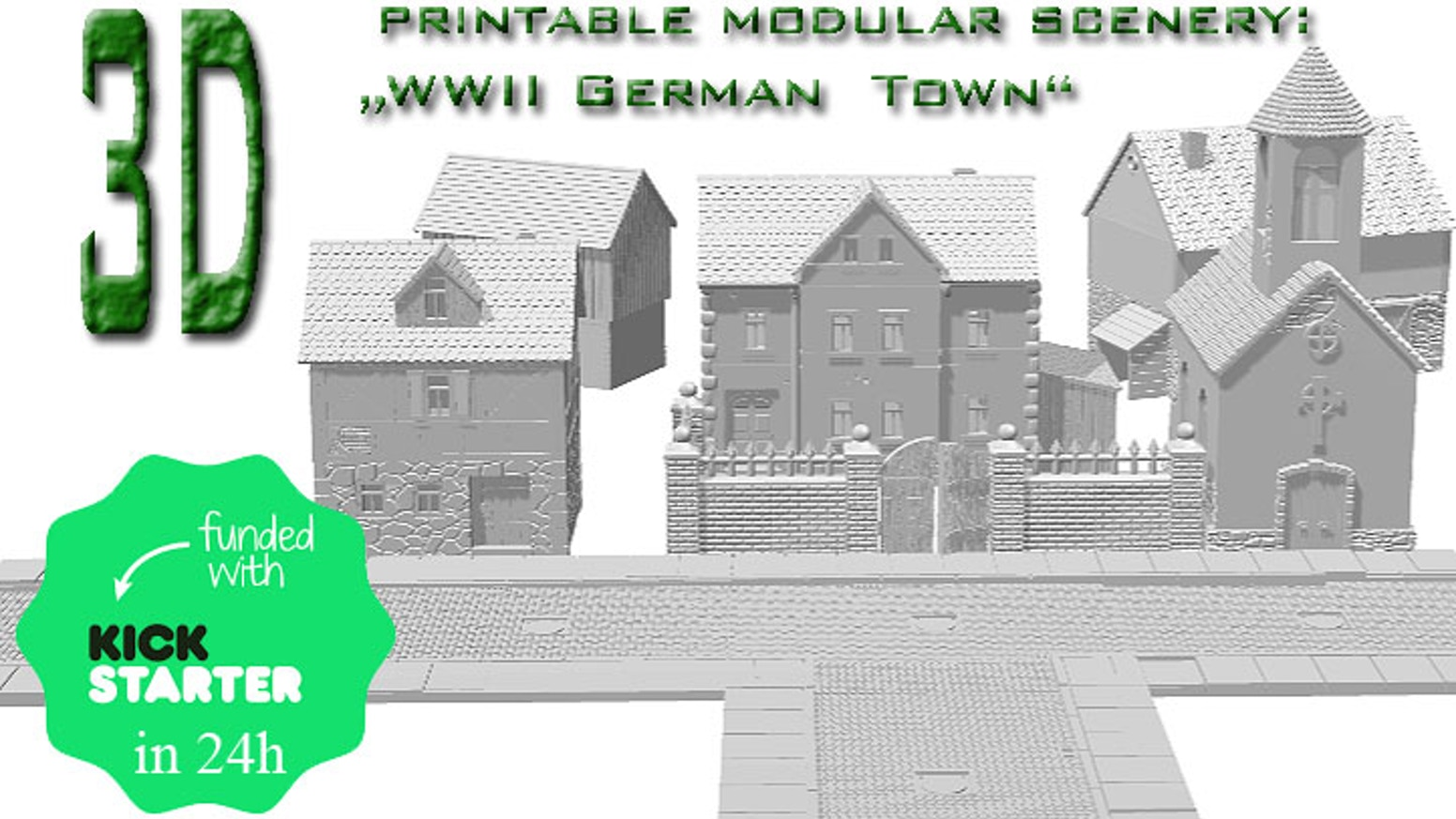 German Town World War II models (STL files) for printing on your own 3Dprinter (for scale 6mm to 30mm).