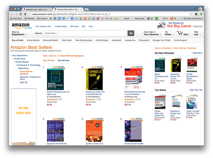 Two of Azat's books, Rapid Prototyping with JS and Express.js Guide, are best-sellers on Amazon