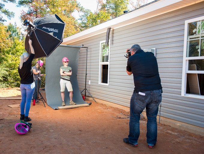 A behind-the-scenes shot from a Habitat for Humanity Women's Build