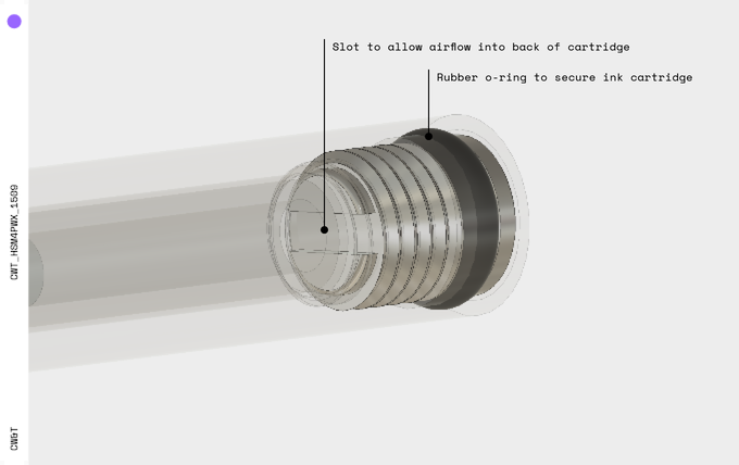 Screw detail to show slot for airflow.