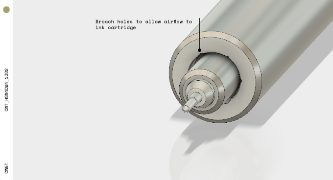 Pen tip to show hex broach to allow airflow to ink cartridge.
