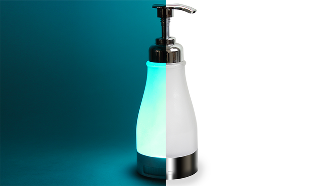 Soap Dispenser by Day. Lava Lamp by Night
