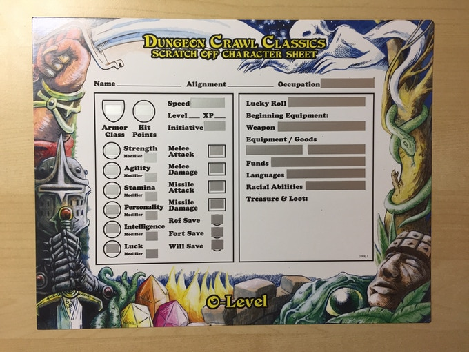 Pre-production sample of the scratch off character sheet