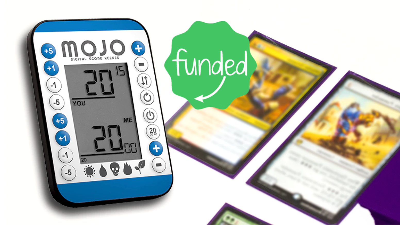 Mojo is the first flippable, shareable, dedicated, digital device for tabletop games with a secondary counter for energy, poison, etc.