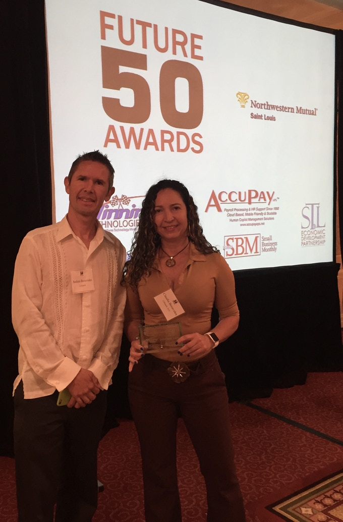"""The day we received the Recognition """"Future 50 Companies 2016"""" by SBM in St. Louis - Missouri. We are the Co-Founders Claudia and Andres."""