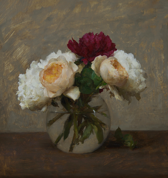 English Roses and Peonies, 15x14, oil on panel
