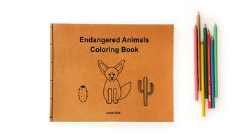 26 Endangered Animals Coloring Book with DIY stitch binding