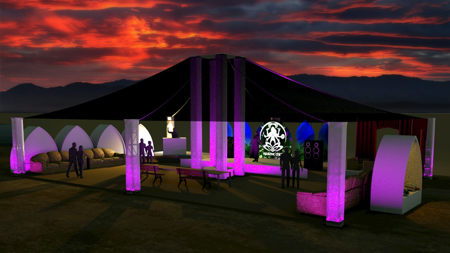 new chill structure lounge at opulent chill bm 2017 by opulent