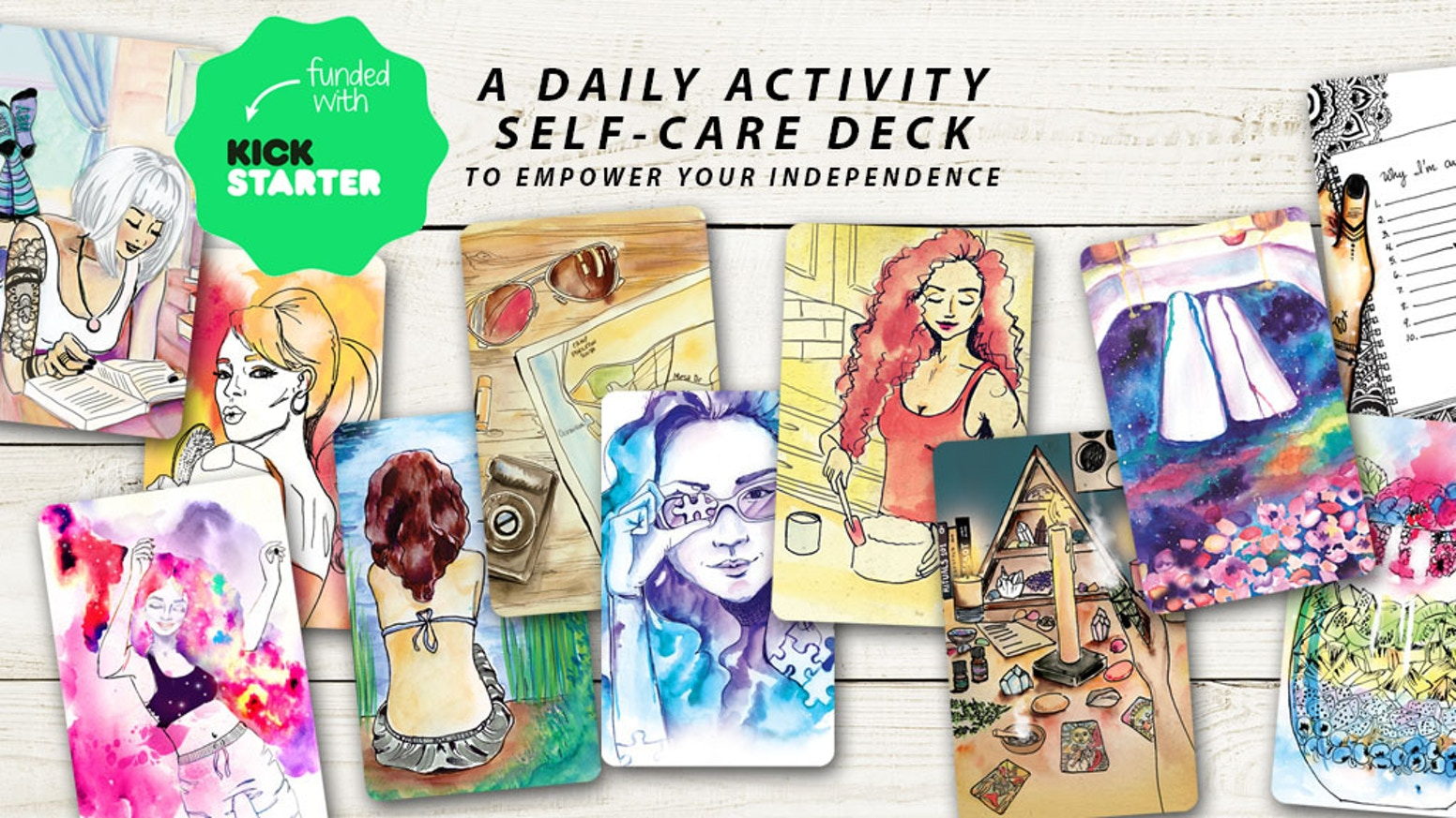 A daily self-care activity deck. Can be used with tarot or oracle readings. Empower your independence and feel happier.