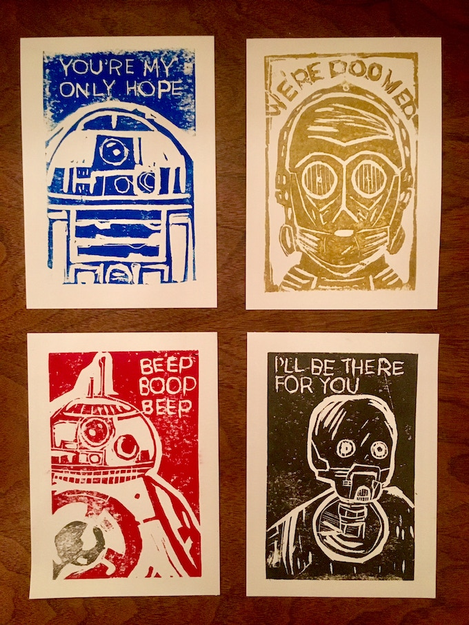 These ARE the droids you're looking for, hand printed limited edition lino cut