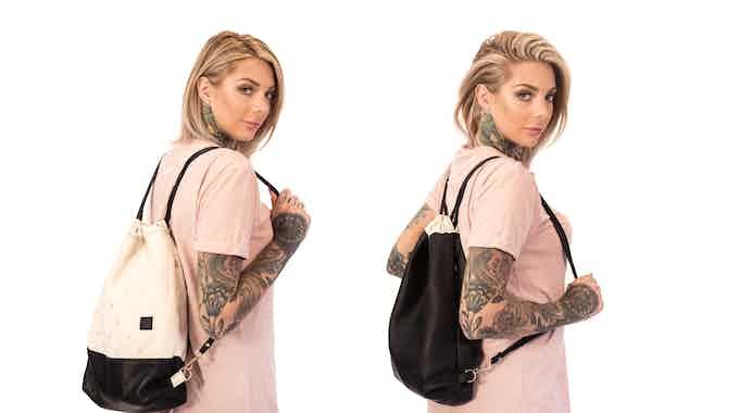 Monocrane Reversible Leather Book Bag in Black