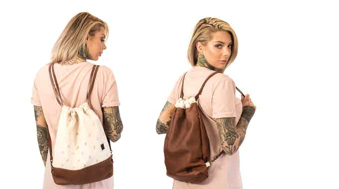 Monocrane Reversible Leather Book Bag in Brown