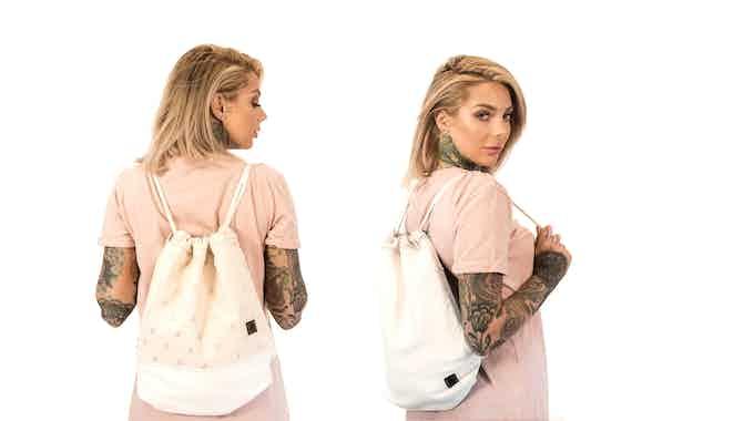Monocrane Reversible Leather Book Bag in White