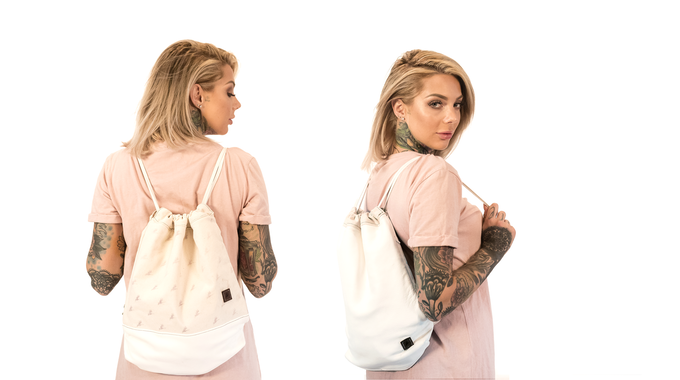 Monocrane Reversible Leather Book Bag in White