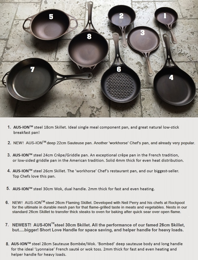 That's a lot of Aussie iron love, and already a hit with chefs and home cooks less than 2 years after their launch! Not shown is our new 35cm Wok: just arriving at retailers in Australia now.