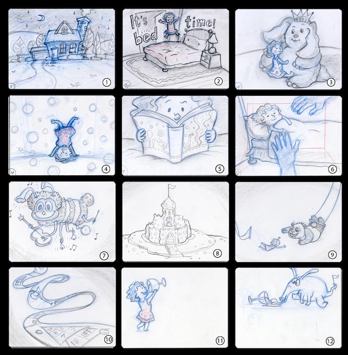 """Original 4.5"""" x 3.75"""" sketches for the $250 Reward Level"""