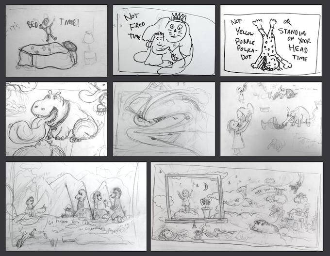 """Some of my original rough sketches for """"Into Your Dreams"""""""
