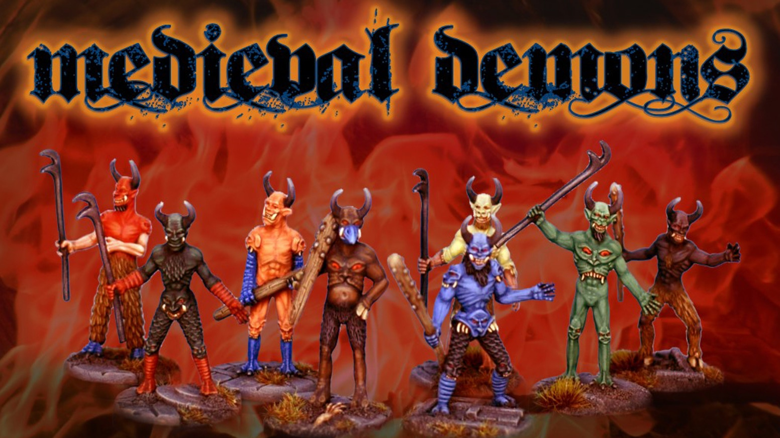 These miniature demons and devils are inspired by medieval Gothic manuscripts. Ideal for fantasy, table top and role playing games.