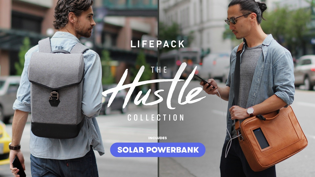 Lifepack Hustle: Solar + Anti-theft backpack & shoulder bag