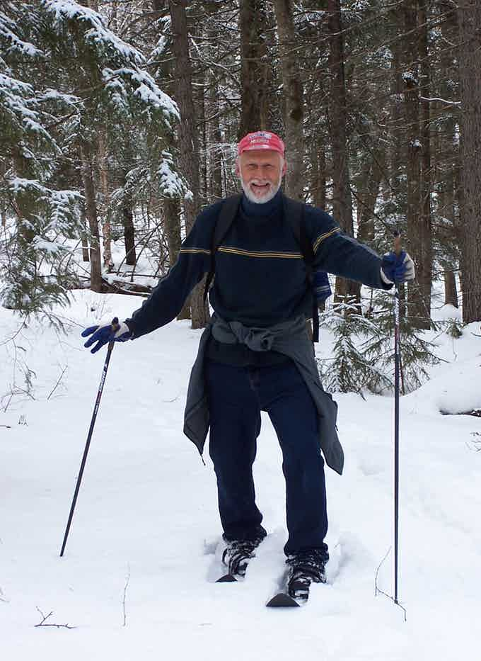 Gil Linde of New Holland, PA tests a prototype pair of skishoes in the Adirondacks