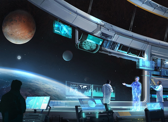 Dr. Tyson appears as a hologram throughout the game guiding you on your journey.