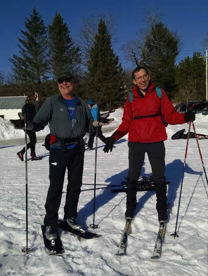 Ron Henry (left) and Fred Burgess of the Kick'N Gliders ski club in Harrisburg, PA show that skishoeing and skiing mix well