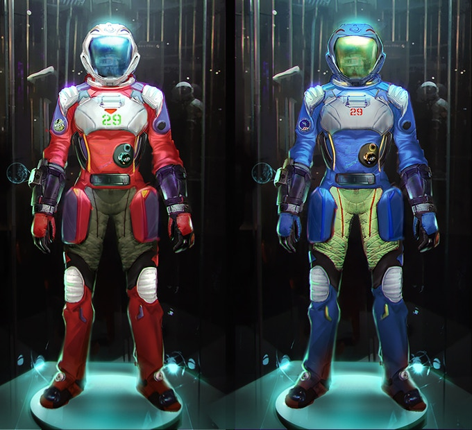 Concept art for the Astro-Explorer spacesuits.