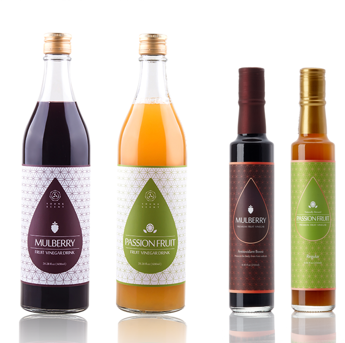 (Left) 600ml Premium Fruit Drinking Vinegar, (Right) 250ml Premium Fruit Vinegar Concentrate