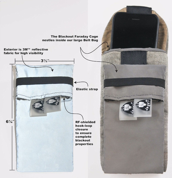 Blackout Pouch - Faraday cage and belt bag w specs reversed