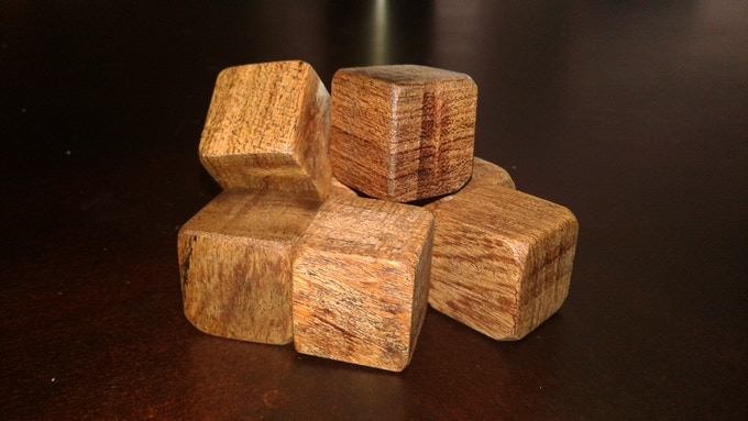 Partially sanded Mesquite Cube blanks