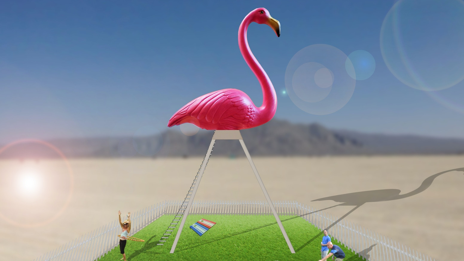 Help build the world's largest lawn flamingo, a 40-foot climbable sculpture, debuting at Burning Man 2017.