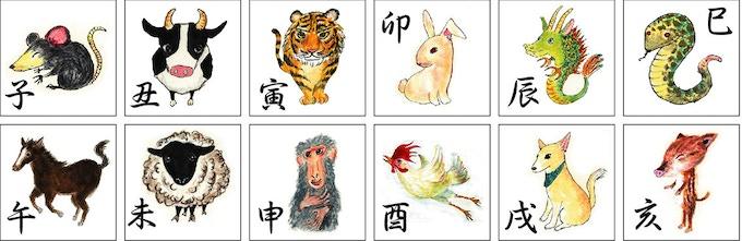 干支 is oriental zodiac with 12 animals.