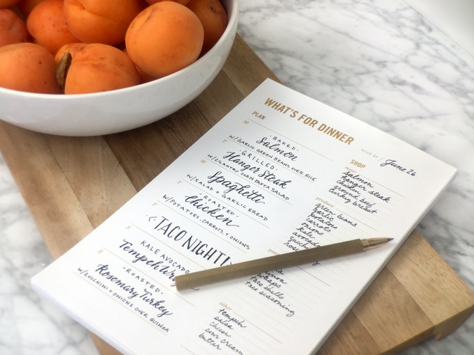 Plan your menu on the left, then make your shopping list on the right
