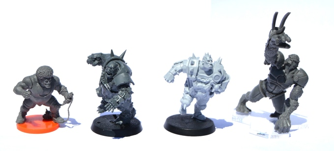 From Left to Right: Kaosball 'Ogre with Afro', Blood Bowl 'Ogre', GORE BALL 'Spiker', Dreadball 'Alpha Simian'. Except for Spiker, models included in this image are for scale only (not for sale or part of this Kickstarter).