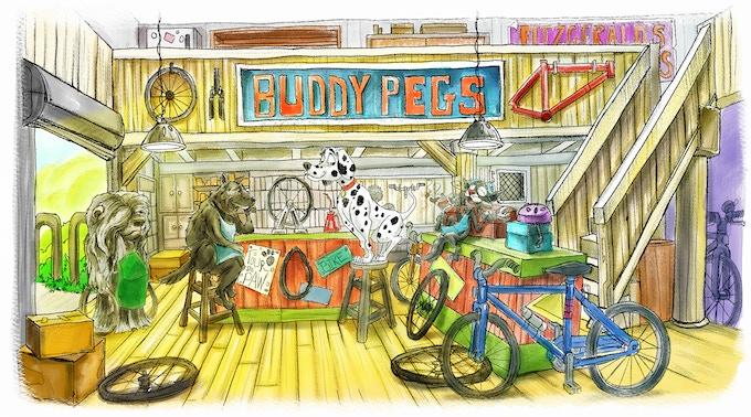 Scene from Taking the Lead: Inside the bike shop Buddy Pegs