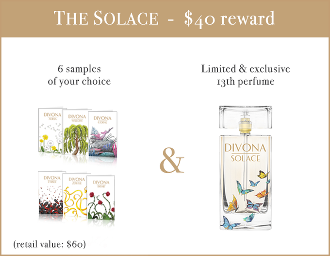 Comes with 6 samples of your choice and the 30ml bottle of SOLACE, our perfume designed for abuse and trafficking survivors, not sold in store.