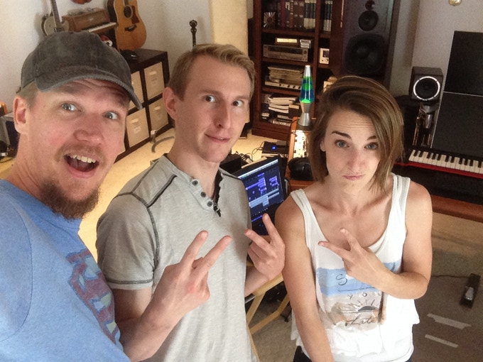In the studio being silly with David Thulin and Matthew Parker - Producers and Friends!
