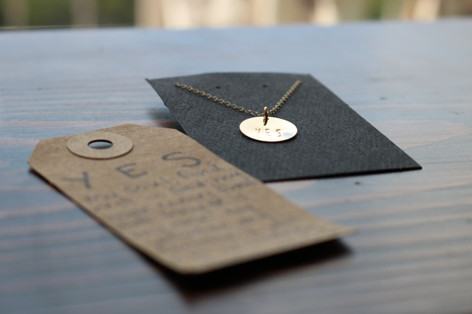 The YES Necklace.  All components are 14/20 gold-filled, tarnish-resistant, and hypoallergenic.