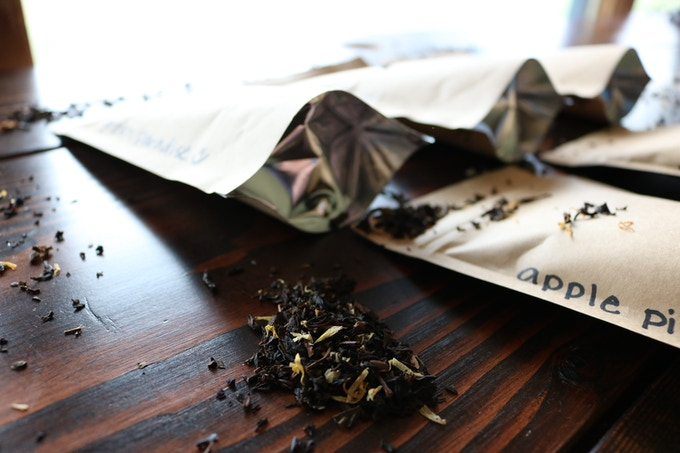 Loose-Leaf Tea: Custom blends selected and packed by Holly! 5 flavors: Apple Pie (apple-cinnamon), Green Paradise (tropical green tea), Chai This! (decaf), Relax (chamomile), and Peach It!