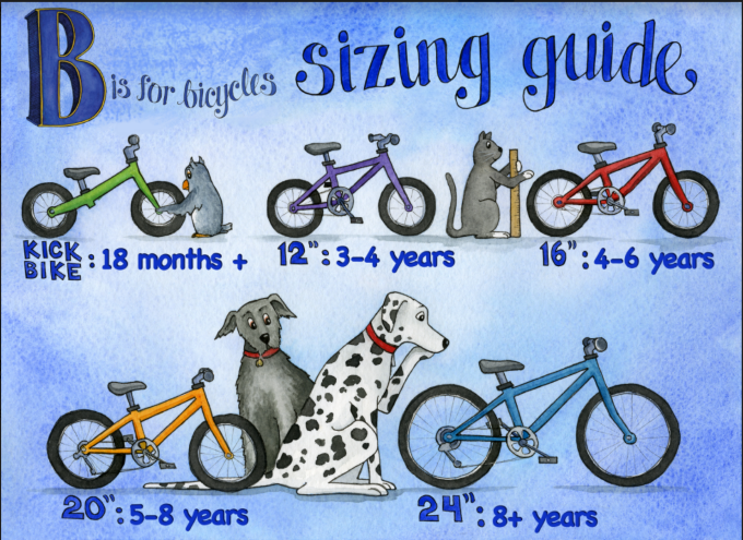 """B is for Bicycles 24"""" x 18"""" youth bike sizing poster"""