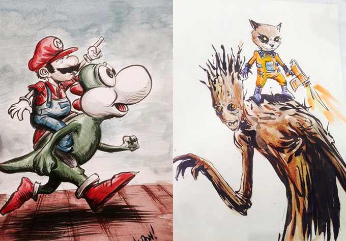 Example of Shane's watercolour work. Mario and Groot!