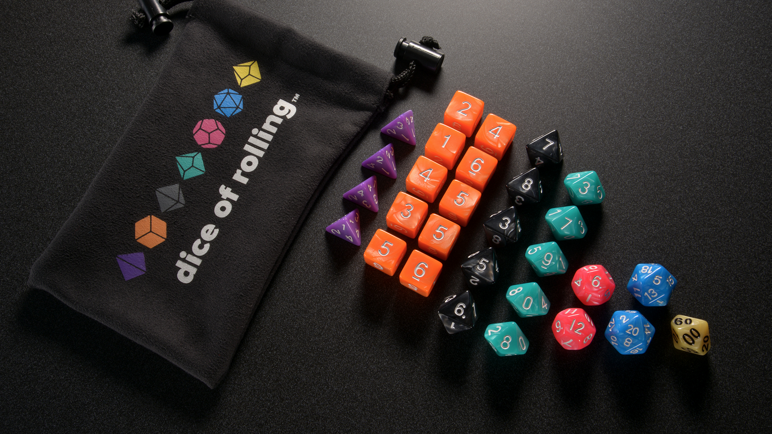 A set of color-coded dice, system optimized for the 5th edition of the world's greatest roleplaying game.